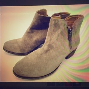 Lucky Brand Taupe Suede Booties